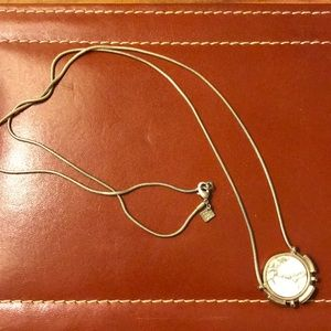 Gold white marble necklace